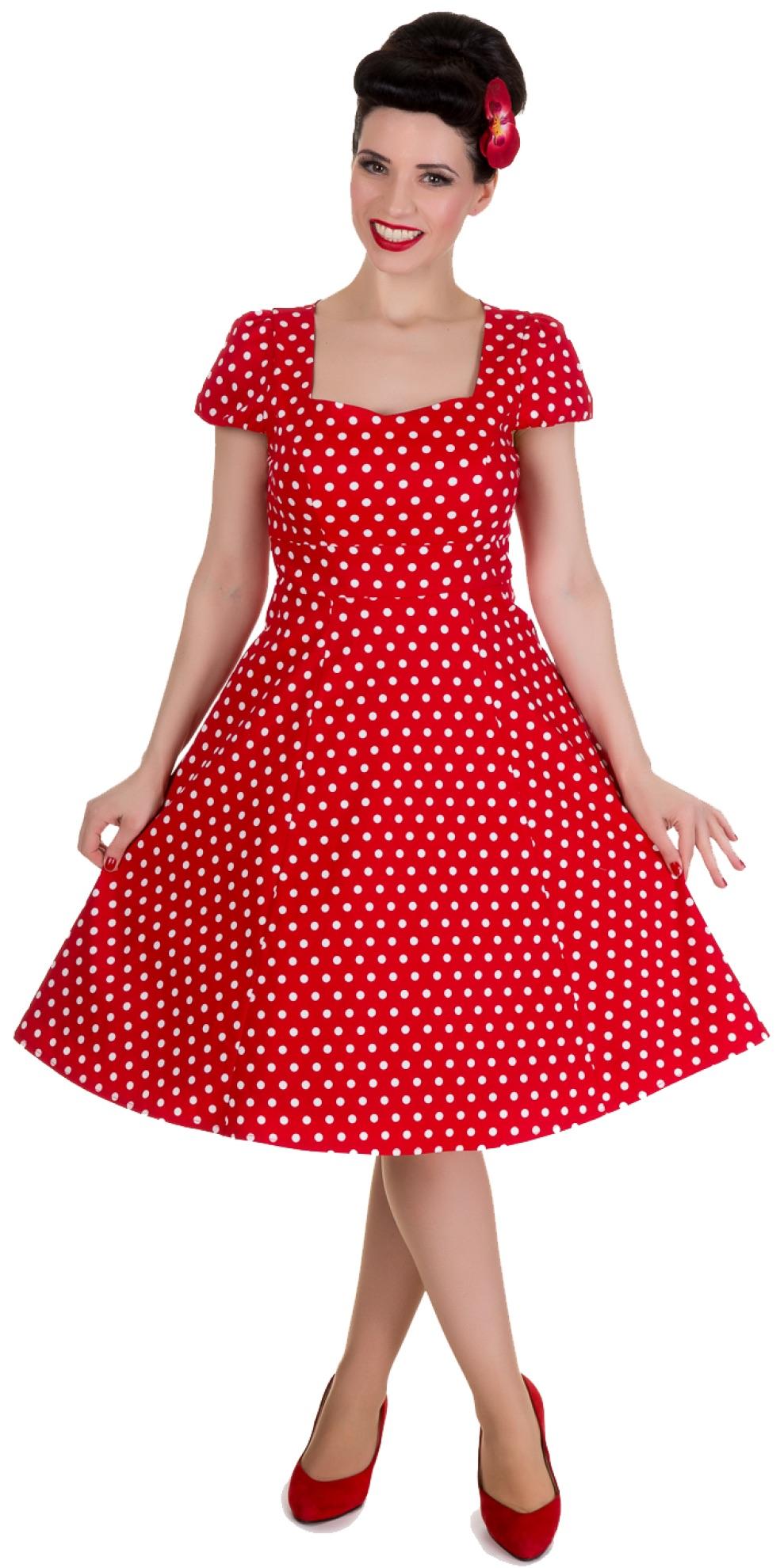 9f48be922e903 Retro červené šaty bodkované Claudia