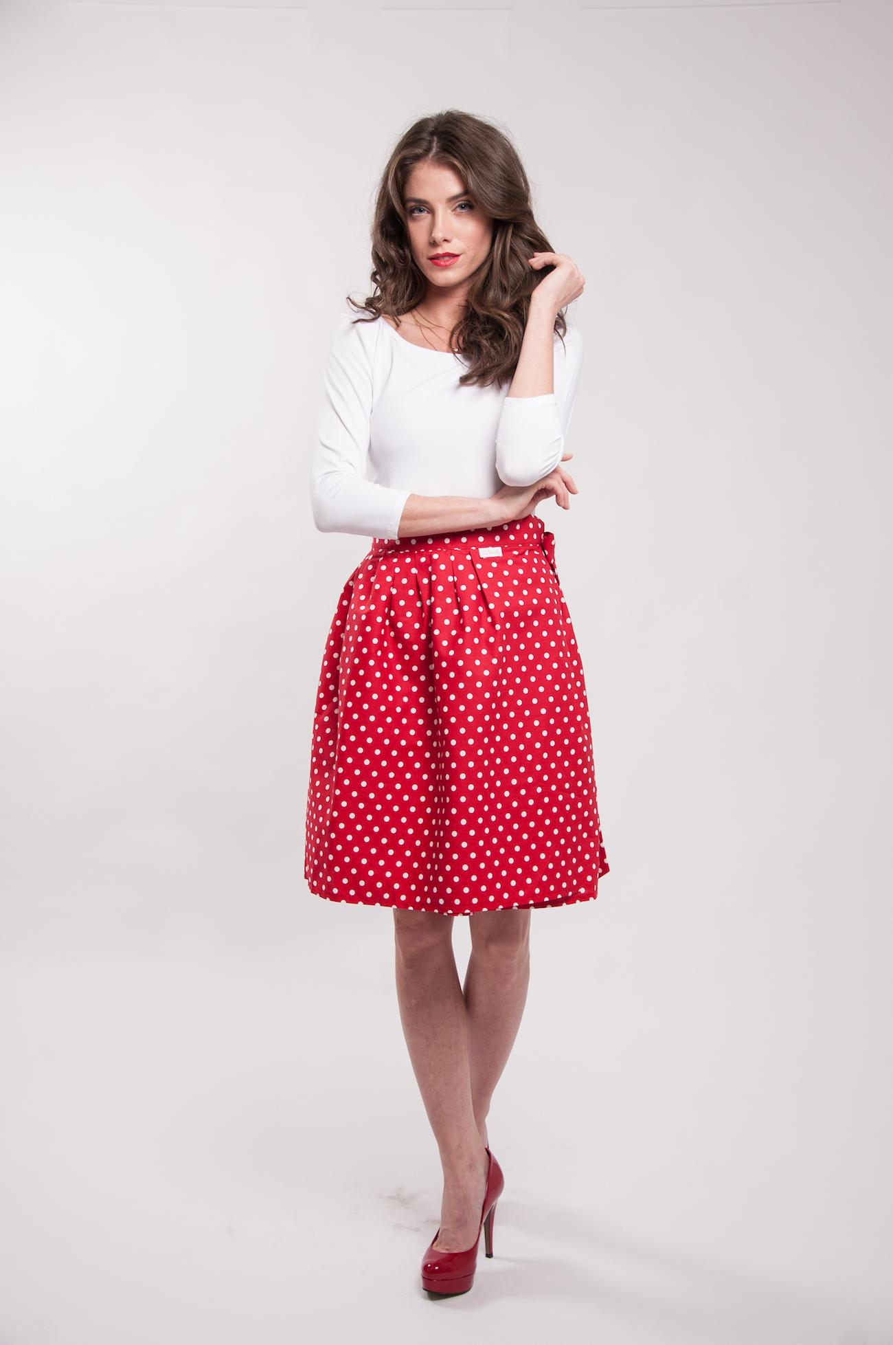 a67190808a88 Zavinovacia sukňa bodkovaná Retro červená