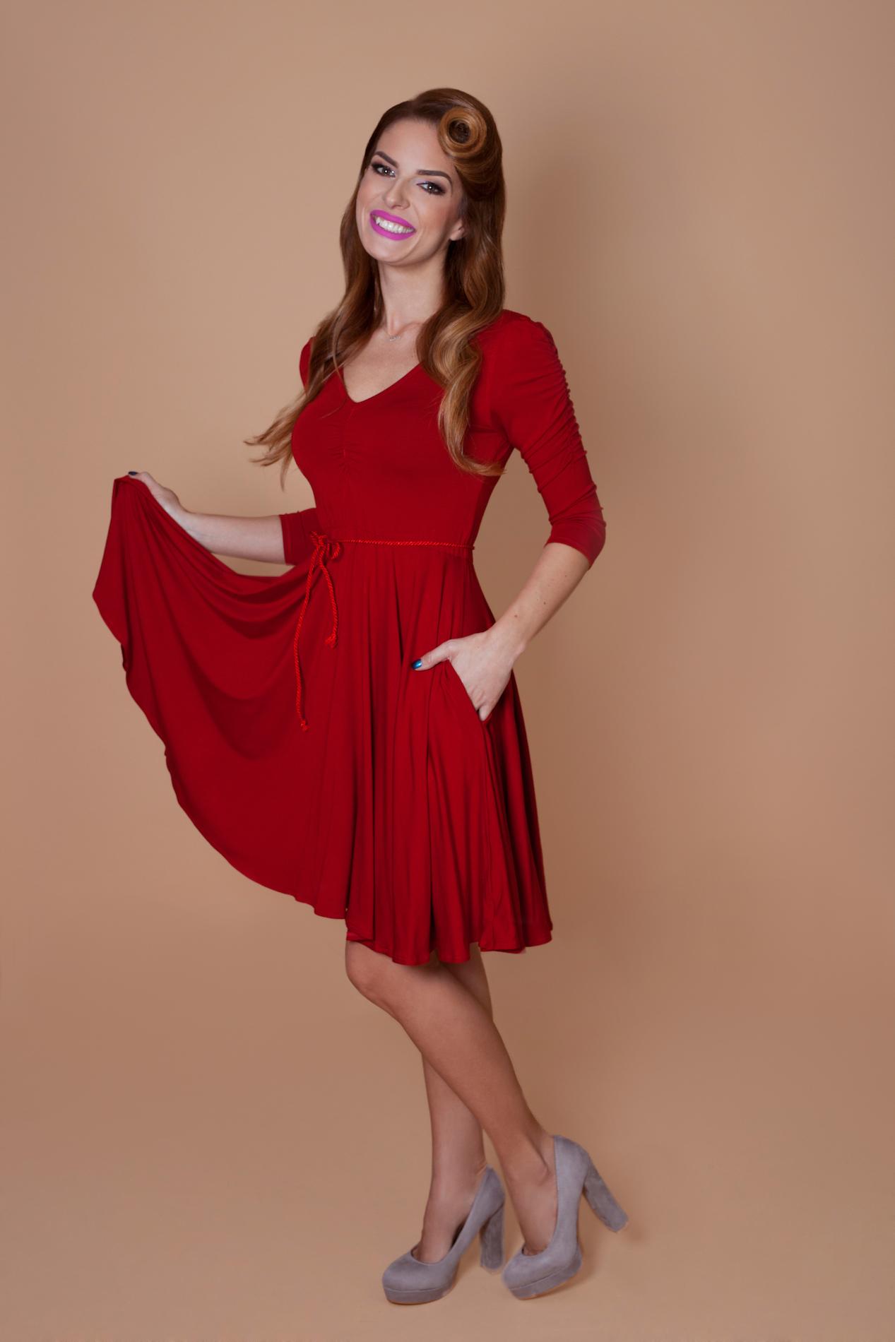 818bfb0523d4 Červené bambusové šaty Ruženka
