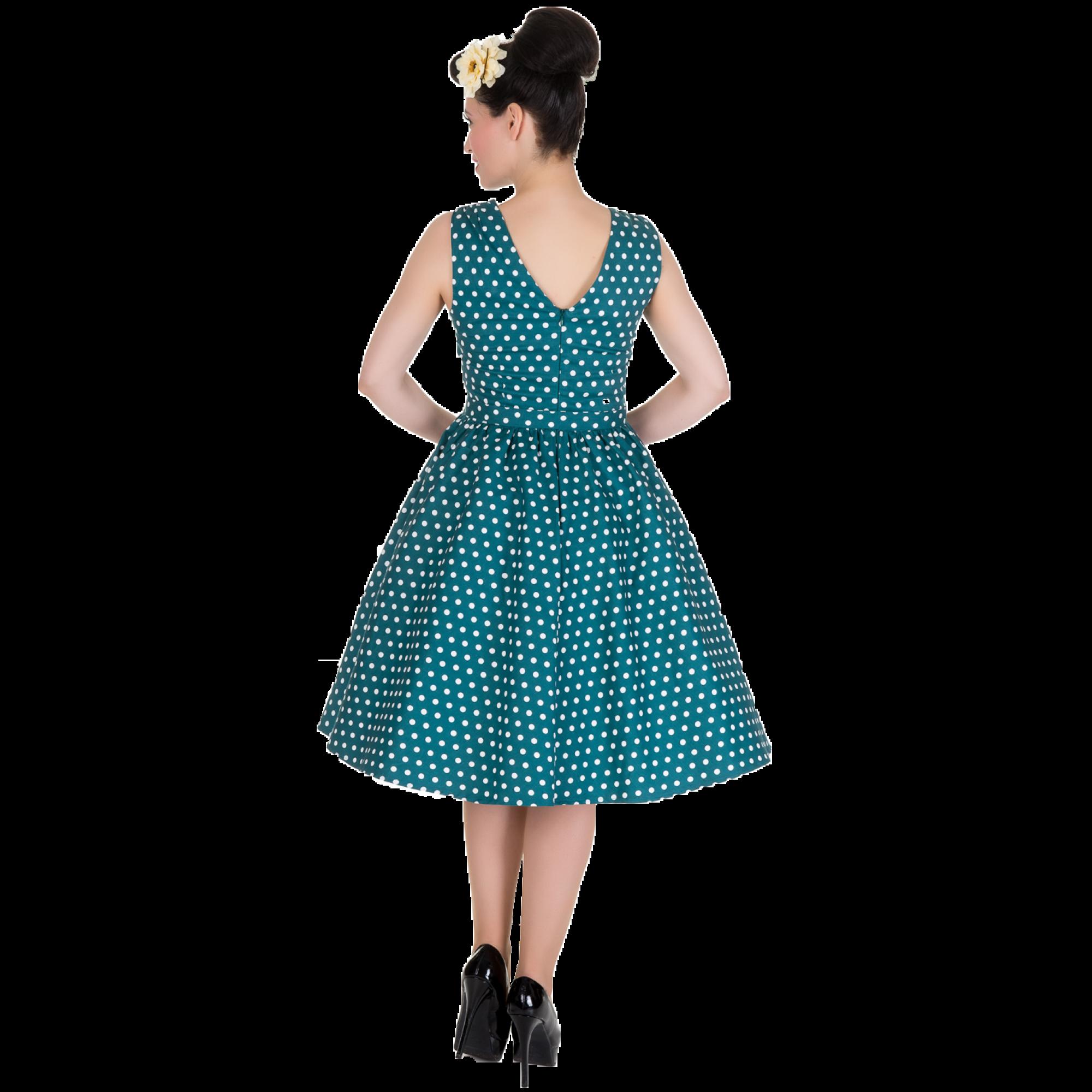 17cf500331e3 Štýlové zelené retro šaty s bielými bodkami.