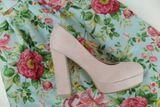 Semišové lodičky pudrovo ružové