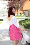 Zavinovacia sukňa Retro cyklamenová bodkovaná