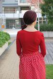 Bambusový Top nariasené rukávy Ruženka červený