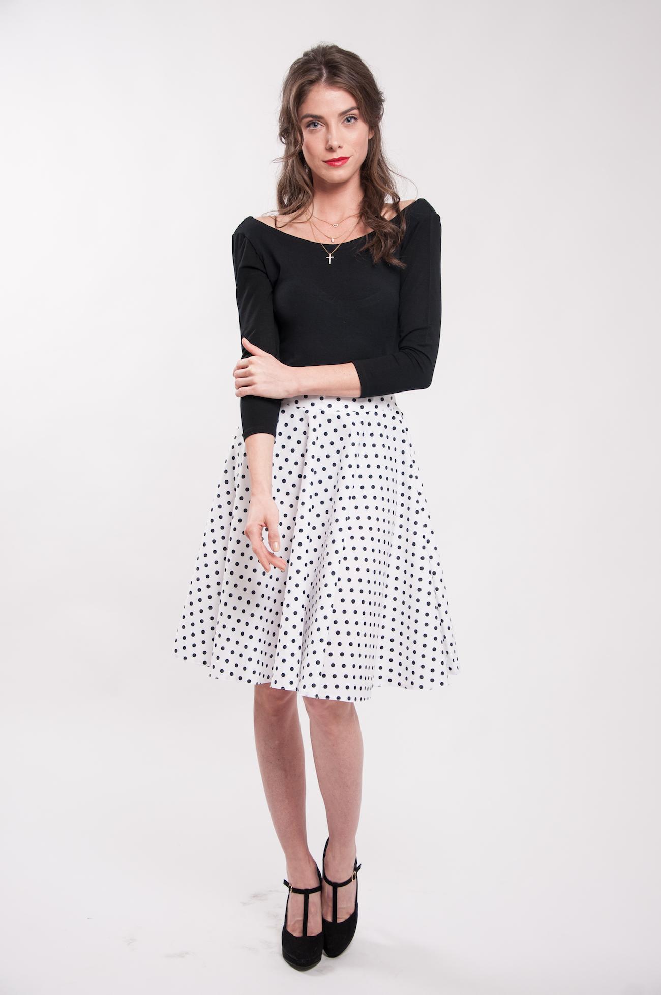 8caa0933f53f Kruhová bodkovaná sukňa biela