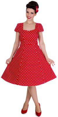 Retro červené šaty bodkované Claudia