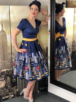 Retro šaty New York navy