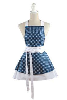 Šatová kuchynská zástera Chic blue dots