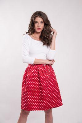 Zavinovacia sukňa Retro bodkovaná 0,6 cm červená