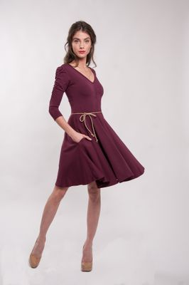 Bordové bambusové šaty riasené Merlot