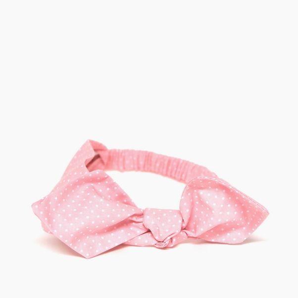 Čelenka ružová bodkovaná s mašľou pink dámska