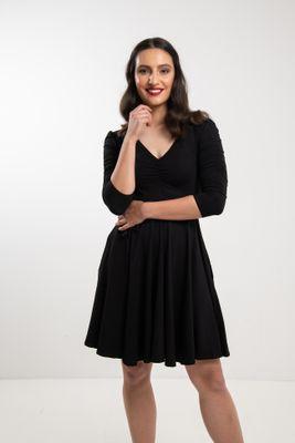 Čierne bambusové šaty riasené Arabela