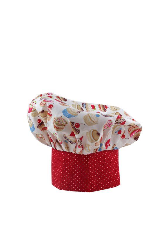 Kuchárska čiapka Cupcake red