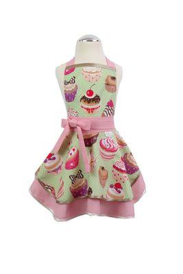 Dievčenská kuchynská zástera Cupcake green