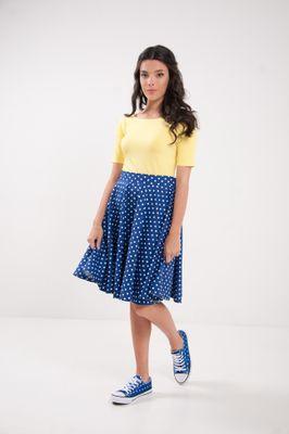 Kruhová bodkovaná sukňa modrá