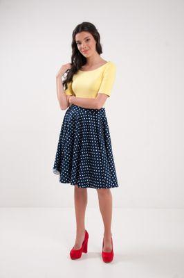 Kruhová bodkovaná sukňa modrá Navy