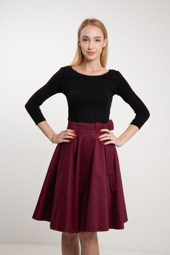 Kruhová bordová sukňa Lovely