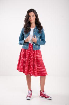 Kruhová bodkovaná sukňa červená