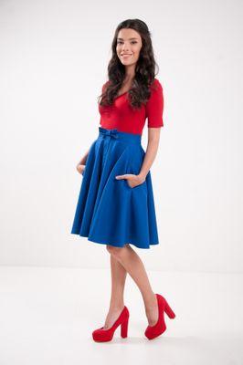 Kruhová modrá sukňa Lovely