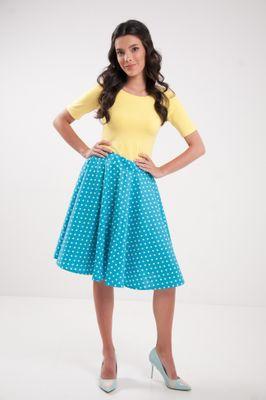 Kruhová bodkovaná sukňa tyrkysová