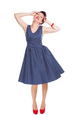 Retro šaty modré bodkované Maggy
