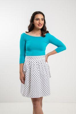 ac19280f7 Zavinovacia sukňa bodkovaná Retro biela