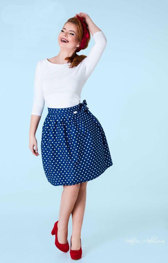 Zavinovacia sukňa bodkovaná Retro modrá