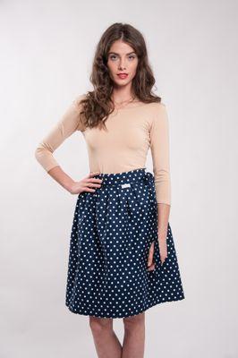 Zavinovacia sukňa bodkovaná Retro modrá Navy