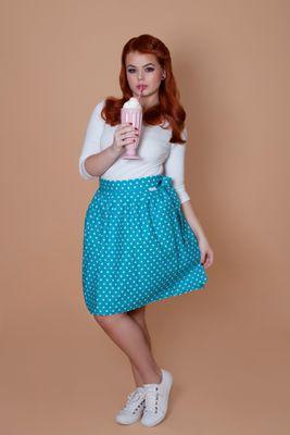 Zavinovacia sukňa bodkovaná Retro tyrkysová