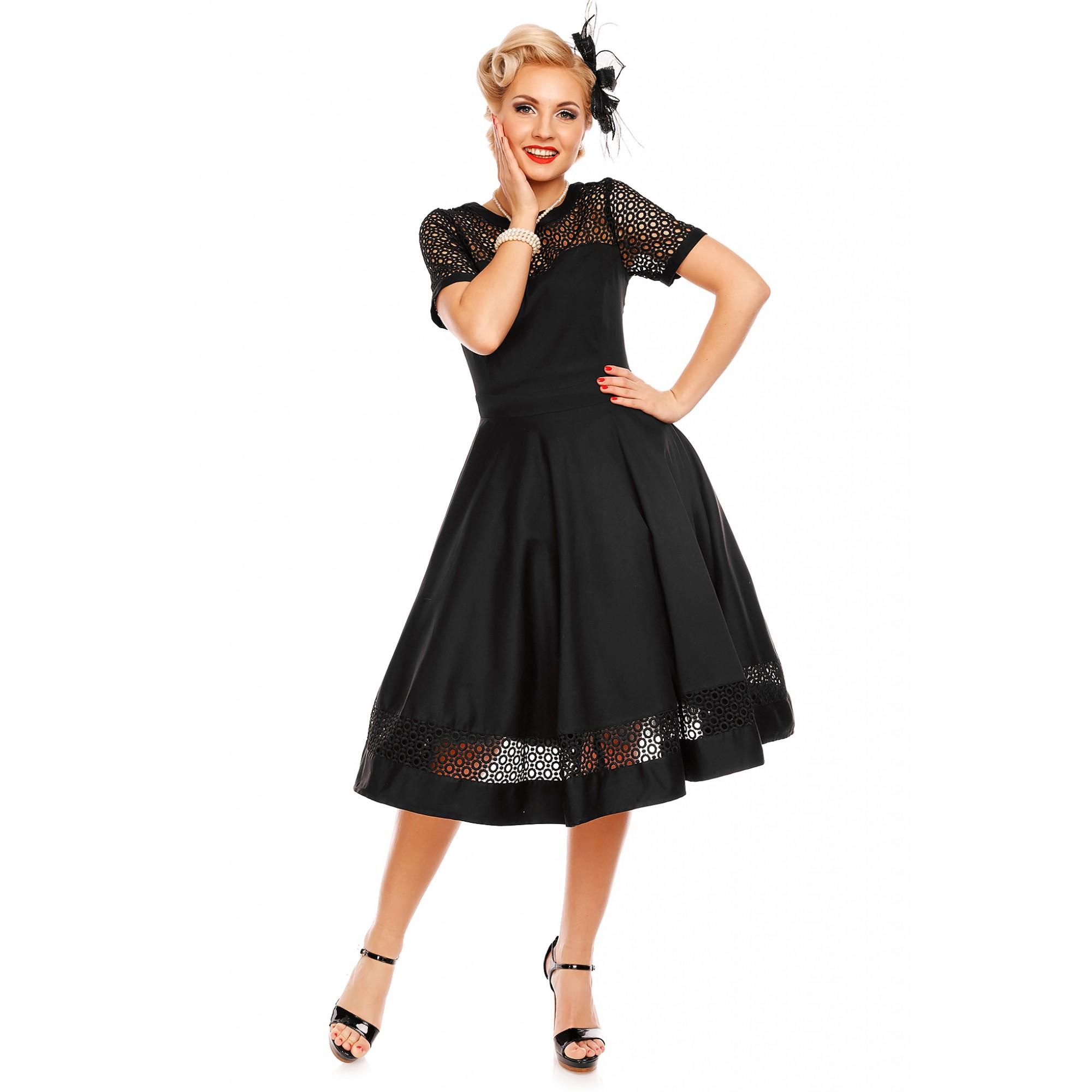 096475913c8 Retro čierne krajkové šaty Dorry