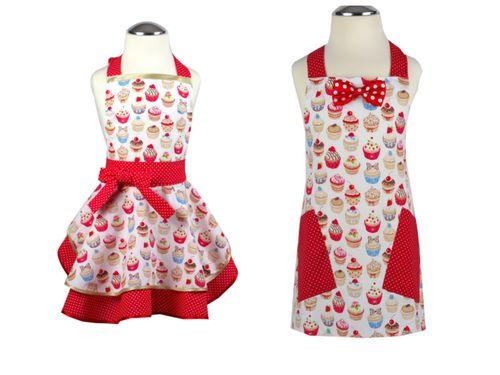 Set zástera pre dievča a chlapca Cupcake dots